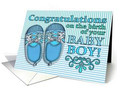 congratulations on the birth of your baby boy blue shoes stripes card