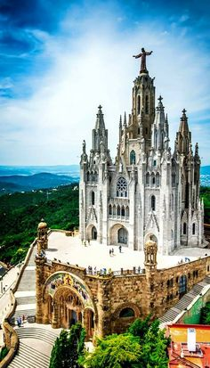 View of the Tibidabo Church overlooking Barcelona, Spain.
