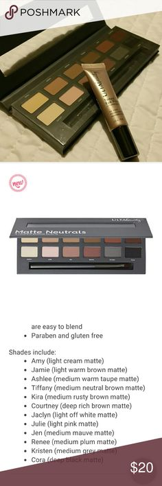 Ulta eye bundle Matte neutrals 12 piece eye shadow pallette. Beautiful colors. Brand new pallette from Ulta beauty. Includes a brush. Also includes Ulta tinted eye primer in champagne to keep your color lasting all day. Both products are brand new. ulta Makeup