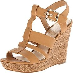 Jessica SimpsonColor: AmbraStrappy leather sandal featuring jute-wrapped platform wedge and buckle closure at ankleLightly padded footbed