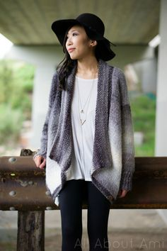 The Cascade Cardigan is a chic sweater with gorgeous drape that has a knitted look to it! Free pattern & step-by-step tutorial available!