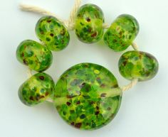 Green Spotty Dotty Handmade Glass Lampwork by ScubeadooCrafts