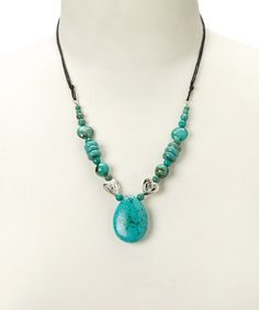 Loving this Turquoise & Silver Heart Stone Pendant Necklace on #zulily! #zulilyfinds