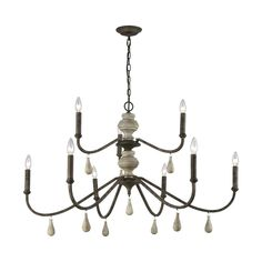 ELK-HOME-D3960 Chandelier Ceiling Lights, Ceiling Light Fixtures, Hanging Lights, Chandeliers, 60 Watt Light Bulb, Traditional Dining Rooms, Brown And Grey, Gray, French Style Homes