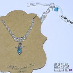 N-171  Nohea Creations. OOAK Handmade.Angel. Bow. SIlver. Aqua.Necklace.Princess