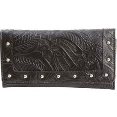 Casual Outfitters™ Ladies' Solid Black Genuine Leather Wallet SilverTone Rivets #CasualOutfitters #Clutch