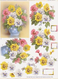 Vase Of Pansies Decoupage SD369