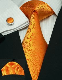 SilkNeckTiez - New Men's Paisley Orange 100% Silk Tie Set 44G