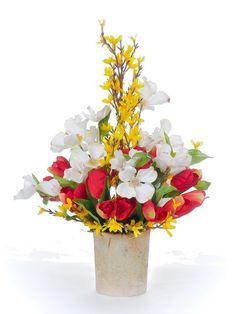 Tulip, Forsythia, & Dogwood Arrangement