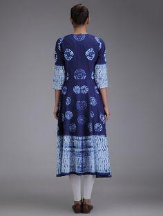 Cotton Kurta created using traditional shibori-dyeing technique | Indigo- Ivory Shibori Dyed Kalidar