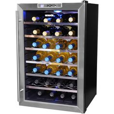 Wine collectors will love this 28-bottle thermoelectric wine cooler. With no vibration or noise, this cooler will keep your wine perfectly chilled. Six pull-out chrome racks and a digital display for temperature control make this cooler a must-have.