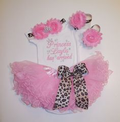 Princess NAME has arrived embroidered newborn by LittleQTCouture, $58.95