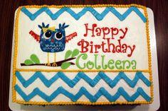 Owl & Chevron Birthday Cake