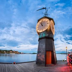 Clock Tower at Aker Brygge in Oslo Norway [OC] wallpaper/ background for iPad mini/ air/ 2 / pro/ laptop Big Clocks, Cool Clocks, Sistema Solar, Outdoor Clock, Unusual Clocks, Gothic Furniture, Antique Clocks, Water Tower, Oslo