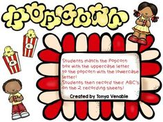 This game is a fun way for students to match upper and lowercase letters! Students match the uppercase letter on the popcorn box to the lowercase letter on the popcorn! Included are 2 recording sheets. Upper And Lowercase Letters, Lower Case Letters, Alphabet Activities, Abc Alphabet, Literacy Activities, Hello Teacher, Kindergarten Blogs, Teaching Resources, Teaching Materials