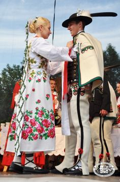 Bride and groom: traditional wedding in the town of Zakopane, region of Podhale, Poland