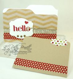 www.PattyStamps.com - Fun file folder card created with Envelope Punch Board