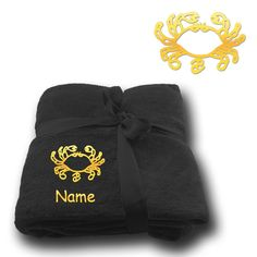 Fleecy Cuddle Blanket Blanket Embroidery Embroidered Zodiac Sign Cancer + Name