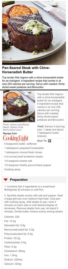 Pan-Seared Steak with Chive-Horseradish Butter: 220 Calories - Serves 4