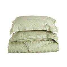 Superior 400 Thread Count Long-Staple Combed Cotton Striped Duvet Cover Set Sage - 400KCDC STSG