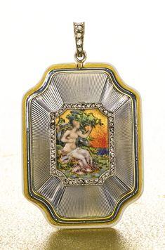 Verger A FINE 18K YELLOW GOLD, ENAMEL AND DIAMOND-SET RECTANGULAR PENDANT WATCH CIRCA 1910