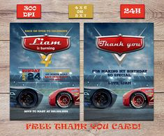 Disney Movie Cars Birthday InviteFREE Printable Thank You CardLightning McQueen Party InviteCars 3 PartyCars Boy