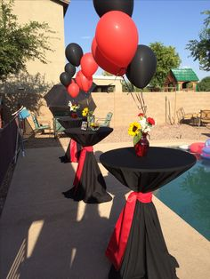 Graduation party Black Red Sunflowers