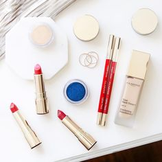 """374 Likes, 4 Comments - ClarinsUK (@clarinsuk) on Instagram: """"We're channelling cobalt blue eyes and fire engine red lips this season. What's your current beauty…"""""""