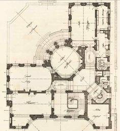 Musee Nissim De Camondo .  --  1st fl. Two Story House Plans, House Floor Plans, Classical Architecture, Architecture Details, Paris France, Hospital Floor Plan, Landscape Design Plans, Floor Plan Layout, Sims House