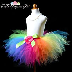 Girls Rainbow Birthday Tutu...Baby Girls Tutu por TutuGorgeousGirl