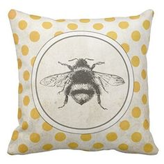 DSL&HXY Vintage Bee on Yellow Dots white Linen Throw Pillow Case Cushion Cover Home Sofa Decorative 18 X 18 Inch.
