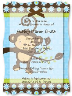 Monkey Boy - High Quality Vellum Overlay Baby Shower Invitations With Squiggle Shape