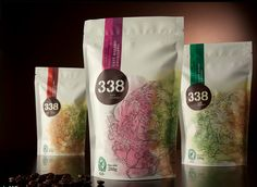 Flexible packaging stand-up pouch with nature inspired artwork | 338 Cafe Gourmet