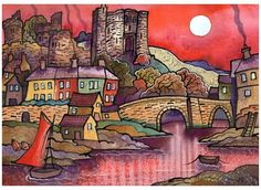 Old Kidwelly and bridge - Dorian Spencer Davies