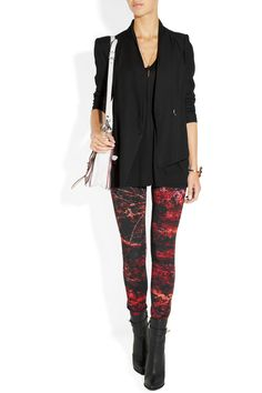 Helmut Lang | Midnight Floral Reflex printed twill leggings | NET-A-PORTER.COM