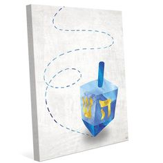 "Click Wall Art 'Spinning Dreidel ' Graphic Art on Wrapped Canvas Size: 24"" H x 20"" W x 1.5"" D"