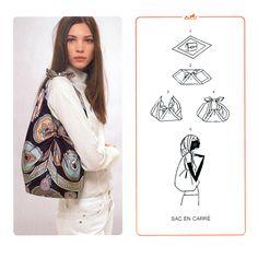 60a79926b5f4 foulard hermes diventa borsa Turbante, Nodi Sciarpa, Borsa Con Gli Origami,  Braccialetti,