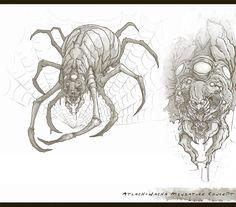 Atlach Nacha - Cthulhu Wars by TentaclesandTeeth on DeviantArt Creature Concept Art, Creature Design, Dark Fantasy, Fantasy Art, Chiara Bautista, Call Of Cthulhu Rpg, Lovecraftian Horror, Eldritch Horror, Occult Art