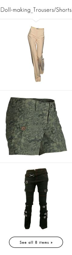 """""""Doll-making_Trousers/Shorts"""" by auntiehelen ❤ liked on Polyvore featuring pants, trousers, bottoms, pantaloni, брюки, beige pants, activewear, activewear shorts, vintage ivy camo and vintage sportswear"""