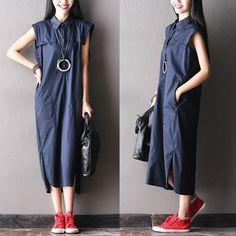 Summer New Korean Style Polo collar sleeveless dress