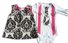 Brother Sister Boy Girl Twin  Matching - Damask and Pink