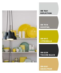 open shelves in kitchen - LOVE the colors and the accesorizing on the shelves