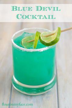 How to make a Blue Devil cocktail made with Blue Curacao and Bacardi rum via flouronmyface.com: