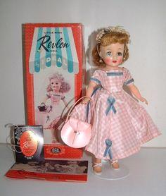 little miss revlon doll in pink check taffeta. This dress had horsehair braid on the hemline.