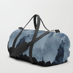 Wolf howling at full moon Duffle Bag by laureenr Duffle Bag Travel, Duffle Bags, Travel Bags, Wolf Howling, Physical Fitness, Full Moon, Wolves, Gym Bag, Print Design