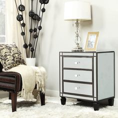 INSPIRE Q Escanaba Mirrored 3-drawer Black Trim Accent Table | Overstock™ Shopping - Great Deals on INSPIRE Q Coffee, Sofa & End Tables