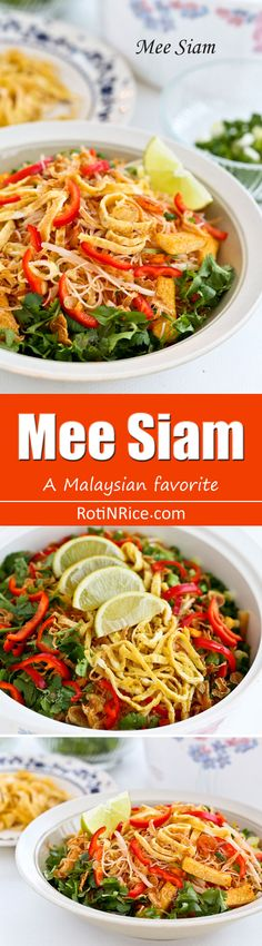 Mee Siam is a Malaysian favorite often served during public functions. This spicy and flavorful dish comes with a variety of colorful toppings. | RotiNRice.com