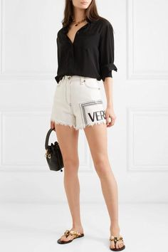 White and black denim Button and concealed zip fastening at front cotton Hand wash Made in Italy Short Outfits, Girl Outfits, Casual Outfits, Cute Outfits, Fashion Outfits, Womens Fashion, Estilo Jenner, Givenchy Top, Versace Shorts