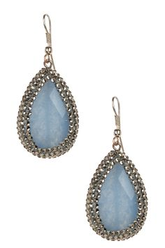 Sterling silver pave black diamond Swarovski crystal accented round blue agate drop earrings