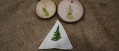 wooden disc & calico triangle with leaf print
